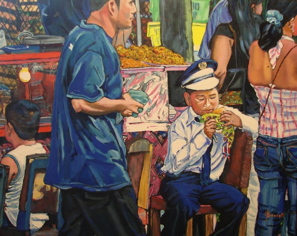 """Boy with Chicken Hamburger at Small Restaurant of El Valle"""