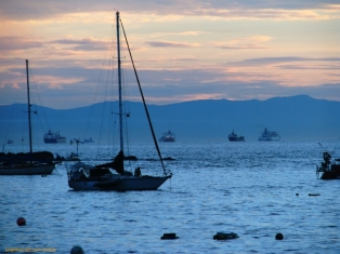 Sailboats and Ships at Dawn in Taboga