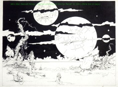 "John Allen Bennett Novey ""Woman and Child on the Far Planet"" ©1981 China Ink on paper."
